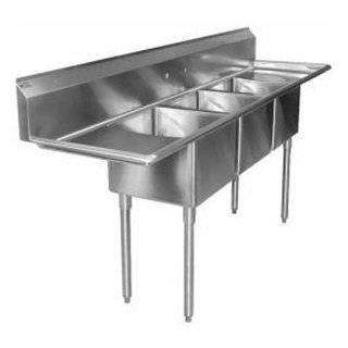 "Regency 16 Gauge Three Compartment Stainless Steel Commercial Sink with 2 Drainboards   106"" Long, 1"