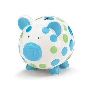 Hand Painted Ceramic Piggy Bank   Blue And Green Polka Dot Piggy Bank Adorable Baby/Toddler Gift