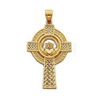 Charm   14kt Solid Yellow Gold Claddagh Cross Pendant Jewelry