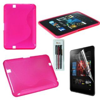 Rasfox 8.9 Inch  Kindle Fire HD TPU Gel Back Cove Case, Anti Galre Screen Protector and 3 Stylus Pen Pack       (Hot Pink) Electronics