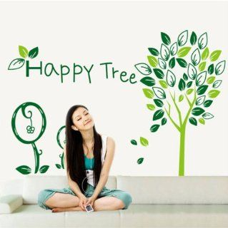 Happy Tree Green Tree Wall Decals, Living Room Bedroom Removable Wall Stickers Murals   Wall Decor Stickers