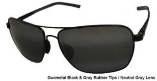 Maui Jim Freight Trains 326 02 Polarized Rectangular Aviator Sunglasses,Gloss Black Frame/Neutral Grey Lens,One Size Clothing