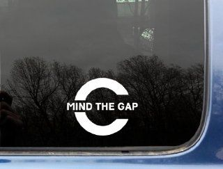 "Mind the Gap   3 3/4"" x 4 1/2""   funny chive die cut vinyl decal / sticker for window, truck, car, laptop or ipad (NOT PRINTED) KCCO"