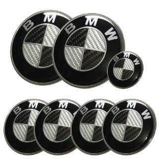 Spec R 7pcs BMW Black/Silver Real Carbon Fiber Emblem Logo Badge Set 82/82mm Automotive