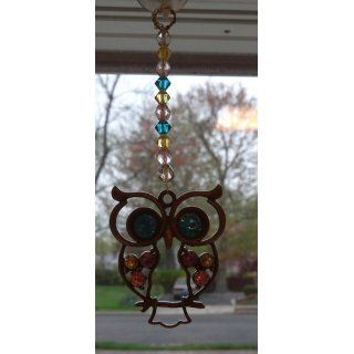 Vintage, Retro Colorful Crystal Owl Pendant and Long Chain Necklace with Antiqued Bronze/Brass Finish Jewelry