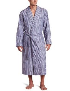 HUGO BOSS Men's Shawl Collar Robe, Blue, Large Clothing