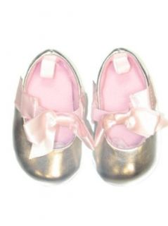 Girls Soft Sole Silver Baby Ballet Shoes with Pink Bow by Vitamins Baby   Metallic   2 Infant