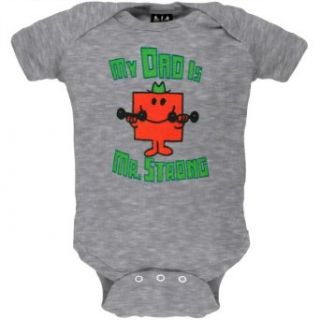 Mr. Men & Little Miss   Unisex baby My Dad's Strong Bodysuit   9 12 Months Grey Clothing
