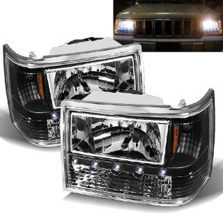 93 98 Jeep Grand Cherokee Black Headlights 1PC Automotive