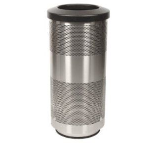 Witt Industries SC20 01 SS 20 Gallon Perforated Trash Can w/ Flat Top Lid, Stainless Finish, Each   Waste Bins