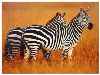 Oriental Furniture Classic Wildlife Wall Art Decor 31 Inch African Zebras and Savannah Canvas Photo Print   Framed Wall Art Wildlife