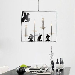 New Modern Crytal Cartoon Mouse Dining Room Pipe Square Chrome Pendant Light Stair Living Room metal Mickey Pendant Lighting Fxtures   Ceiling Pendant Fixtures