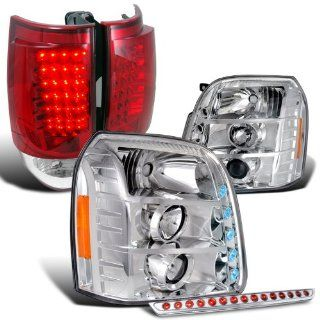 Gmc Yukon Clear Projector Headlights+Red Led Tail Light+3Rd Brake Lamp 5Pc Automotive