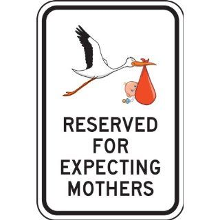 "Accuform Signs FRP357RA Engineer Grade Reflective Aluminum Designated Parking Sign, Legend ""RESERVED FOR EXPECTING MOTHERS"" with Stork and Baby Graphic, 12"" Width x 18"" Length x 0.080"" Thickness, Black on White Industrial & Sc"