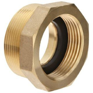 "Moon 356 1522061 Brass Fire Hose Adapter, Bushing Hex, 1 1/2"" NH Female x 2"" NPT Male Fire Hose Fittings"