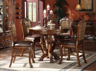 Dresden 5 Piece Counter Height Dining Set, Table/4 Chairs, Cherry Oak Finish Home & Kitchen