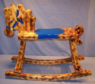 "Wooden Rocking Horse   Burnt And Oiled & Hand Painted BLUE Design   Seat 16"" High   Childrens Furniture"