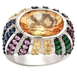 18k White Gold Diamond Multi Color Stone Ring, Size 6.5 (0.27 cttw) Jewelry