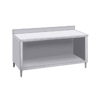 "14 Gauge Advance Tabco EF SS 368 36"" x 96"" Open Front Cabinet Base Work Table with 1 1/2"" Backsplash"