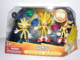 Sonic the Hedgehog Action Figure 3Pack Super Silver, Super Sonic Super Shadow Includes 7 Chaos Emeralds Toys & Games