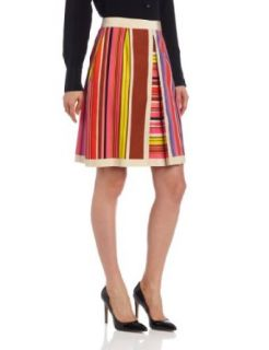 Anne Klein Women's Printed Stripe Pleated Skirt, Orchid Multi, 2