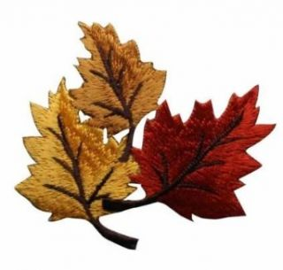 ID #1413 Fall Autumn Leaves Leaf Embroidered Iron On Applique Patches Clothing