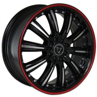 "Toro Wheel 18"" 18x7.5 Infiniti Nissan Honda Toyota Matte Black Machined Red Line 8x100.10x100 114.3 Automotive"