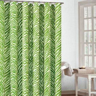 Zeek Fun & Playful Lime Green & White Zebra Fabric Shower Curtain