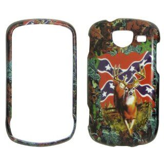 Samsung Brightside U380 Verizon   Deer & Rebel Flag on Camo Camouflage Shinny Gloss Finish Hard Plastic Cover, Case, Easy Snap On, Faceplate. Cell Phones & Accessories