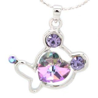 Fashion Sweet Style Cat Crystal Pendant Necklace for Women Jewelry