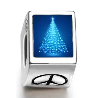 Soufeel Christmas Tree Lights Night Photo Peace Symbol European Charms Fit Pandora Bracelets Jewelry