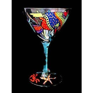 Angel Fish Design Hand Painted Martini glass Kitchen & Dining