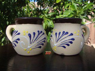 Coffee MUG 2pc Set Jarritos Ceramic w/ Talavera Style Decor Mexico Art Pottery Hand Painted Design