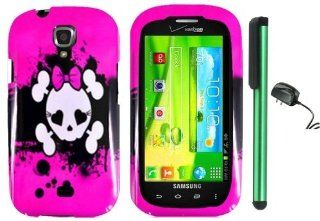 "Samsung Galaxy Stratosphere 2 II i415   Pink Black Heart Love Eye Cute Skull Premium Design Protector Hard Cover Case (Verizon) + Luxmo Brand Travel (Wall) Charger + Combination 1 of New Metal Stylus Touch Screen Pen (4"" Height, Random Color  Black, S"