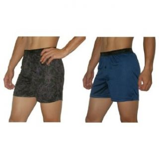 2 PACK Mens Claiborne Soft & Comfortable Button Fly Boxer Shorts / Underwear   Purple & Dark Blue (Size XL(40 42) ) at  Men�s Clothing store