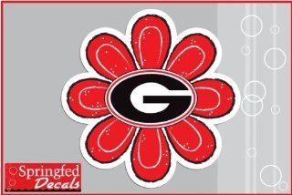 "Georgia Bulldogs G Logo RED FLOWER #2 Vinyl Decal 4"" UGA Car Truck Window Sticker"