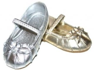 Infant Girls Metallic Mary Janes Flats Pink Silver or Gold Baby Crib Shoes (0, Gold) Shoes