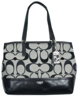 Coach Hamptons Weekend Signature Colorblock MED Tote Black White Shoes