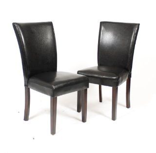 Roundhill Black Leatherette Parsons Chairs with Cherry Finish Wood Legs, Set of 2   Dining Chairs