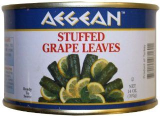 Aegean Stuffed Grape Leaves (Dolmadakia) 14 oz (397 gram) easy open can  Vegetarian And Vegan Prepared Meals  Grocery & Gourmet Food