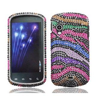 Samsung Stratosphere i405 i 405 / Specifications Cell Phone Full Crystals Diamonds Bling Protective Case Cover Black with Rainbow Color Zebra Animal Skin Design Cell Phones & Accessories
