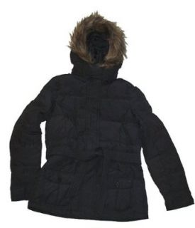 Limited Too Girls Belted Down Puffer Coat with Faux Fur Trimmed Hood, Black, 12 Clothing