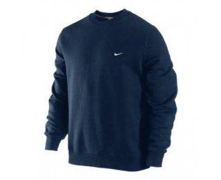 NIKE CLASSIC FLEECE CREW MENS 341570 405 (2XL, DARK OBSIDIAN / DK GREY HEATHER   WHITE) Sports & Outdoors