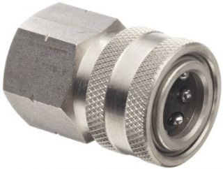 "Dixon STFC3SS Stainless Steel 303 Hydraulic Quick Connect Fitting, Coupler, 3/8"" Female Coupling, 3/8"" 18 Straight Thread Quick Connect Hose Fittings"