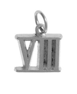 "Roman Numeral Pendant for All Occasions; Anniversary,Birthdays,Milestones, #407.8, 9/16"" Tall w/Loop,Ster. #VIII Jewelry"