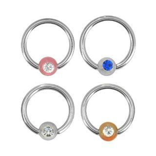 "316L Surgical Steel Captive Bead Ring with Clear UV Acrylic Ball with Clear Cubic Zirconia   14G   7/16"" Length   Sold as a Pair Jewelry"