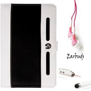 "WHITE and BLACK Executive Leather Portfolio Carrying Cover Case with Hand Strap For  Kindle Fire HD 7"" LCD Display Wi Fi 8GB Tablet, Latest Generation + PINK Crystal Clear High Quality HD Noise Filter Ear buds ( 3.5mm Jack ) + Professor Pen 3 in 1 Red"