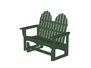 "48.5"" Earth Friendly Recycled Outdoor Patio Adirondack Double Glider  Green Patio, Lawn & Garden"
