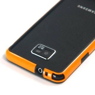 Black + Orange / Plastic Bumper Case for Samsung Galaxy SII / S2 / i9100 + Free Screen Protector (1591 9) Cell Phones & Accessories