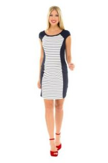 The Olian Contrast Panel Ponte Knit Sheath Dress (X Large, Navy/White)